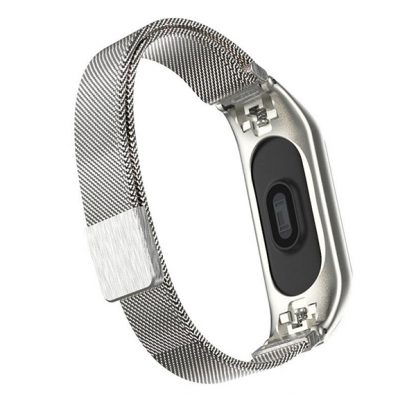 Milanese Buckle Strap Ремешок Сетчатый металлический с застежкой для Mi Band 34 Silver M4
