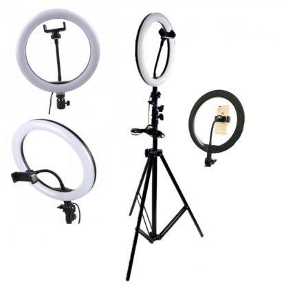 Лампа кольцевая RGB MJ33 33 см + штатив 2м.