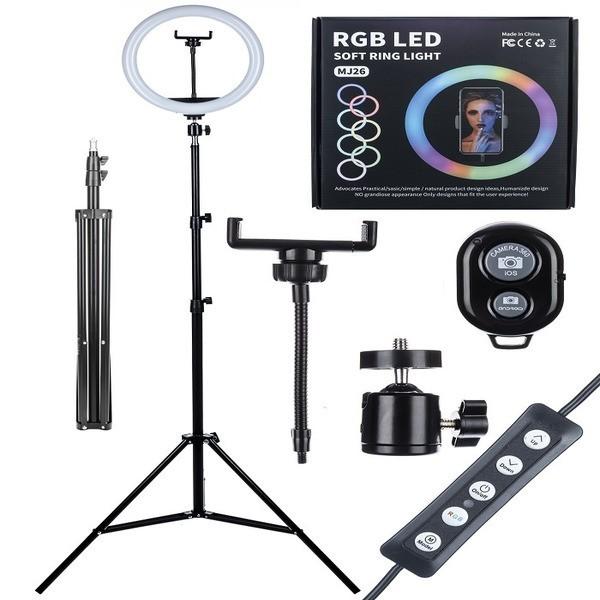 Лампа кольцевая RGB MJ26 26 см + штатив 2м